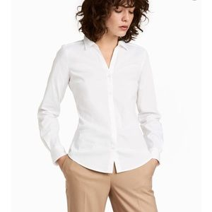 NWT H&M Fitted V-Neck Long Sleeve Shirt Size 2